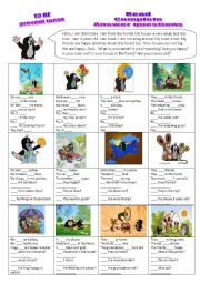 English Worksheets: Verb TO BE - read, complete, answer questions