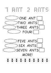 English Worksheets: 1 ant 2 ants