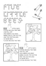 English Worksheet: five little bees