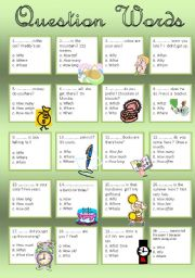English Worksheets: Question words - Exercise - Multiple choice