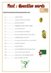 English Worksheets: Test - Question words