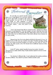 English Worksheet: Reading - Natural Remedies