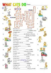 English Worksheet: what cats do: the daily life of cats in two puzzles