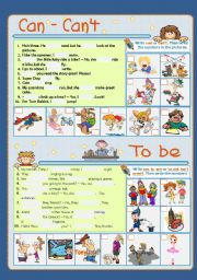 English Worksheet: Revision Practice Verbs Can and Be - Part 1