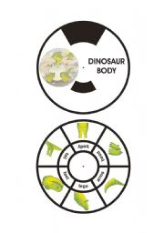 English Worksheet: DINOSAUR BODY WHEEL