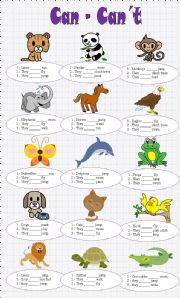 English Worksheet: CAN - CAN´T