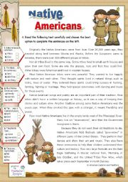 English Worksheet: Native Americans  -  Reading for Upper Elementary & Lower Intermediate Stds.