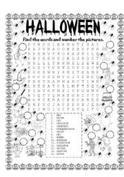 halloween find the words and number the pictures - Words About Halloween