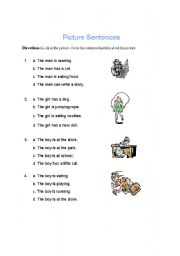 English Worksheets: PICTURE SENTENCES
