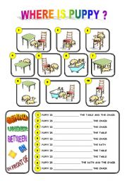 English Worksheet: WHERE IS PUPPY? PREPOSITIONS OF PLACE