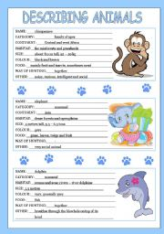 English Worksheet: describing animals 1/3