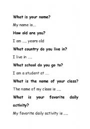 English Worksheets: Conversation Questions