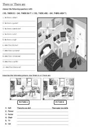 English Worksheets: THERE IS - THERE ARE