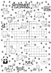 English Worksheet: crossword. animals