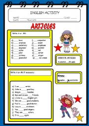English Worksheets: ARTICLE