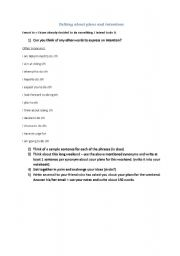 English Worksheets: Talking about plans and intentions