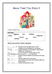 English Worksheets: Toy Story 3 movie worksheet