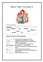 English Worksheet: Toy Story 3 movie worksheet