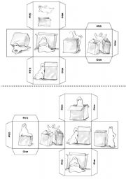 Prepositions Dice ( B&W version included ) 12 pics.