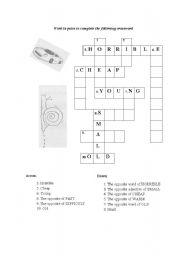 English Worksheet: Opposite adjectives crosswords