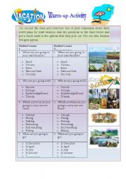 English Worksheet: Tourism and travel Plans