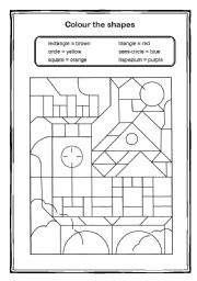 english worksheet colour the shapes