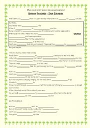 English worksheet: Song activity – Banana Pancakes – Jack Johnson