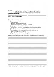 English Worksheets: infomercial task sheet