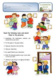 English Worksheet: CLASSROOM RULES - a back to school worksheet (2/3 ws)