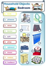 English Worksheet: Household Objects--Bedroom (Matching) Color and B&W Versions & Key Included