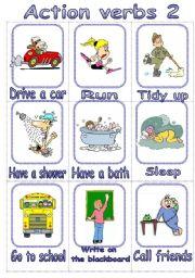 English Worksheets: Action Verbs Flashcards 2