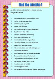 English Worksheets: Find the mistake 1