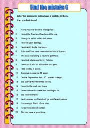 English Worksheets: Find the mistake 6