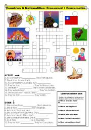 English worksheet: Countries & Nationalities - Crossword with Conversation