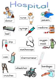 Vocabulary worksheets > Health > At the hospital