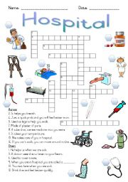 English Worksheet: Hospital Crossword Puzzle
