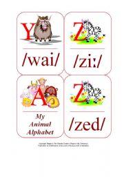 English Worksheet: My Phonetic Animal Alphabet Flash cards 1/7