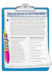 English Worksheets: Home alone. Reading comprehension.