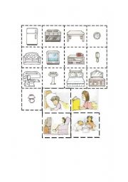 English Worksheets: Rooms-Action part 3