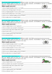 English Worksheet: What would you do if
