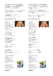 English Worksheet: Waka Waka (This time for Africa) - Shakira