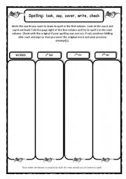English Worksheets: Spelling practice: look, say, cover, check