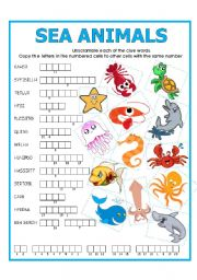 English Worksheets: DOUBLE PUZZLE (SEA ANIMALS)