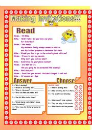 English Worksheets: Making Invitations!
