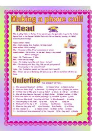 English Worksheet: Making a phone call!