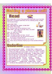 English Worksheets: Making a phone call!