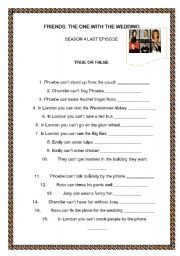 English Worksheet: Friends: the one with the wedding party in london