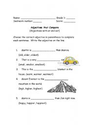 Fun Adjective Worksheets For First Grade - 1st grade adjectives ...