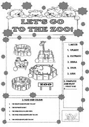 English Worksheets: LET�S GO TO THE ZOO! FOR LITTLE KIDS
