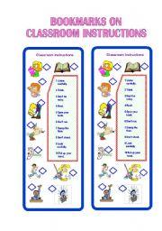 English Worksheet: Bookmarks on Classroom Instructions I ** fully editable